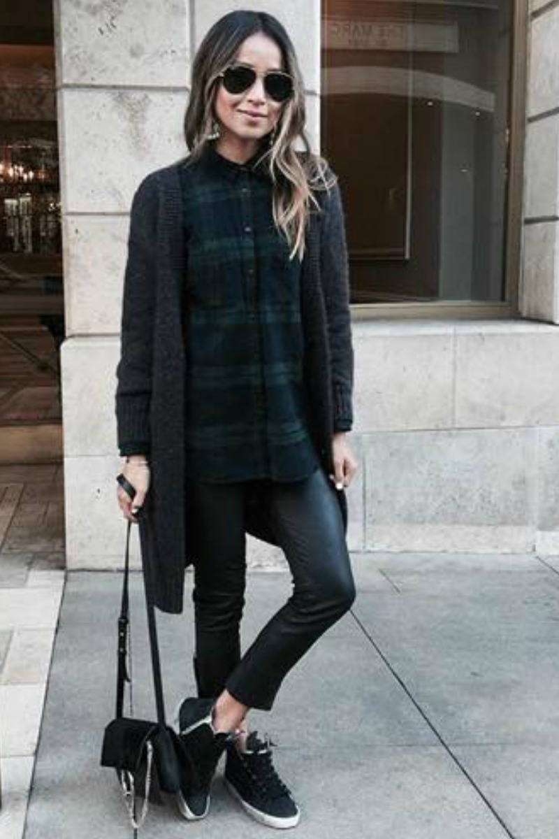 sincerely-jules-fall-outfit-casual-streetstyle-flannel-button-down-cardigan-black-jeans-sneakers
