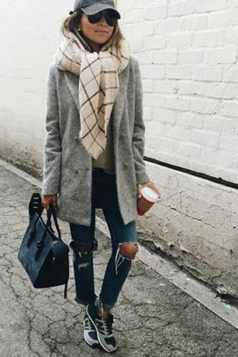 sincerely-jules-fall-outfit-casual-streetstyle-layered-gray-coat-ripped-boyfriend-jeans-scarf-sneakers