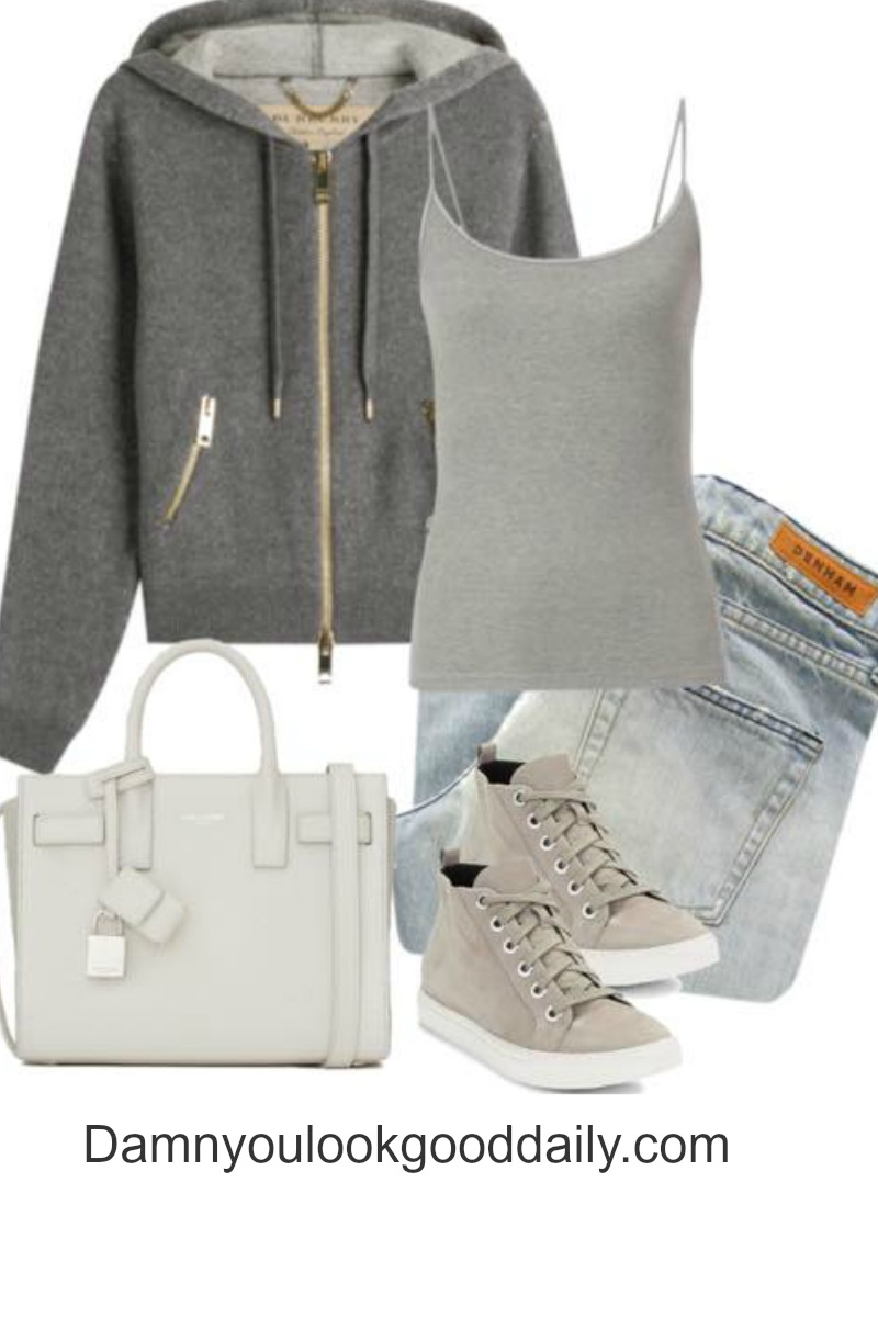 teenage fashion for school fall winter outfits with sneakers light blue jeans and grey hoodie