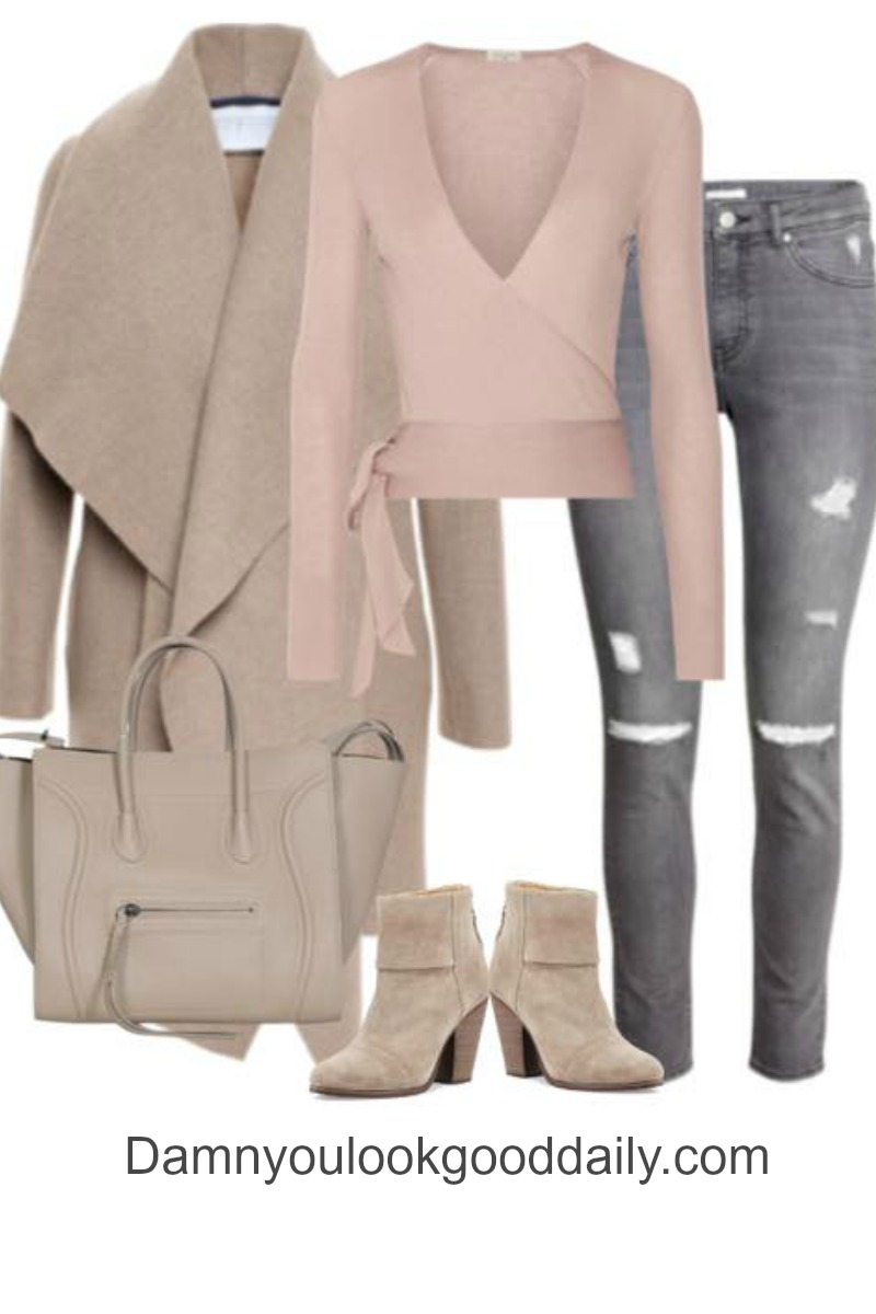 womens fashion for fall winter with a camel coat grey ripped jeans ankle boots and a celine bag