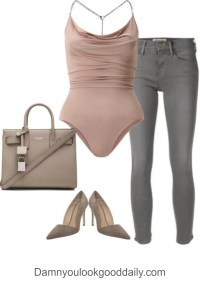 womens-party-outfit-idea-with-grey-skinny-jeans-mauve-bodysuit-pointy-toe-pumps