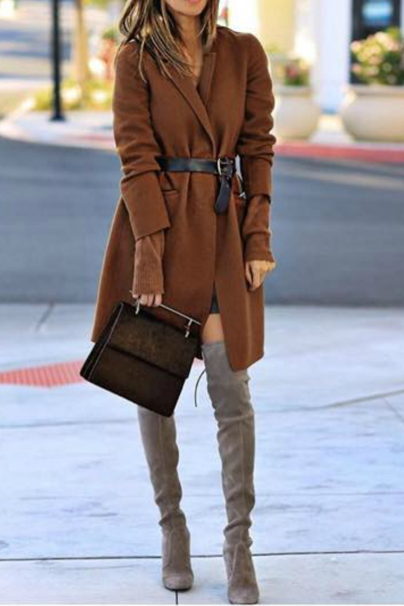 work-outfit-idea-brown-coat-thigh-high-boots