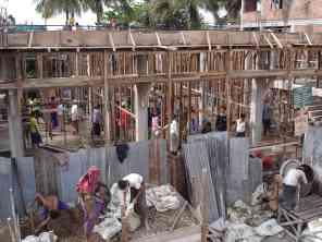 Human construction chain in Myanmar