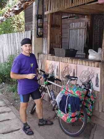 Ceasar and his colourful homemade panniers