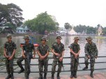 Young soldiers keeping the peace during Songkran