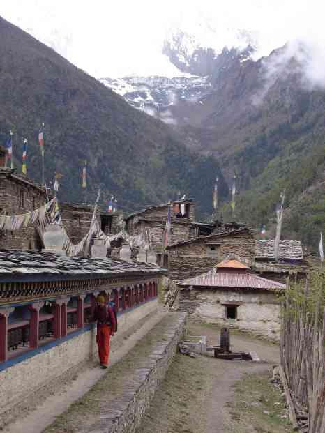 Jarda spinning the prayer wheels in this village