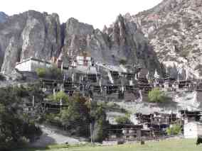 A Buddhist monastery built into the side of a hill