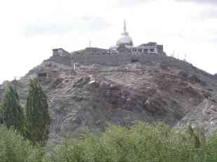 The view up to Shanti Stupa from my room