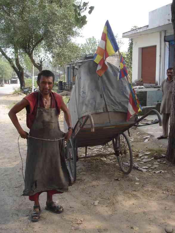 A Tibetan adventurer pulling his cart from Tibet through Northern India that I met