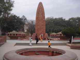 A memorial to the Jallianwala Bagh massacre where 300 Indian civilians were killed by the British