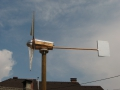 A wooden wind turbine.