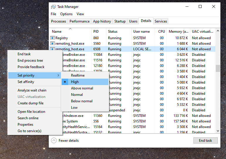 If you're experiencing slow Chrome Remote Desktop, try increasing the executables' priority.