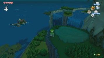 L'île aux forêts, la nuit, avec la boutique de Terry au loin.