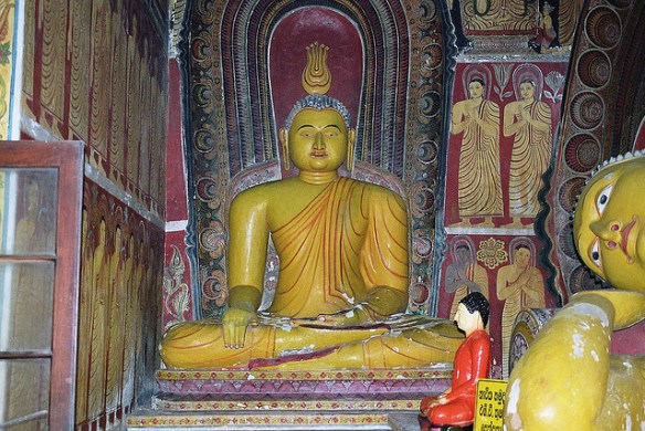 A statue of the Buddha from a temple at Koggala