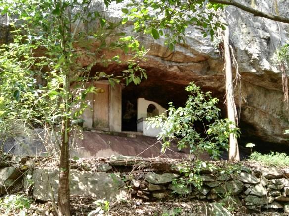 An ancient cave- dwelling of Monks at Dutugamunu Aranya Senasanaya.