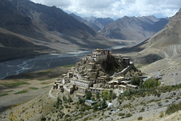 Key Gompa Tibetan Buddhist Monastery in Spiti Valley of Himachal Pradesh, India. The Monastery is believed to be founded in the 11th century and served as a training center for Lamas.