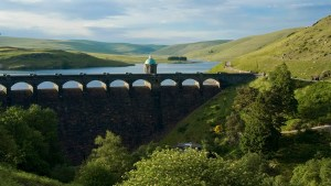 Aerial view of the Elan valley reservoir and dam in Wales, UK