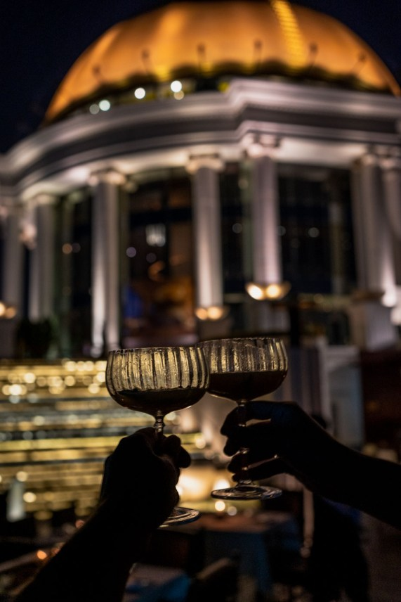 Lebua Hotel rooftop drinks in Bangkok Thailand