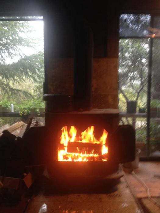 אש. מימין, מאחורי הדלת: פח אפר. משמאל: ארגז בולי העץ. ברקע: עצי היער ועציצי המרפסת.