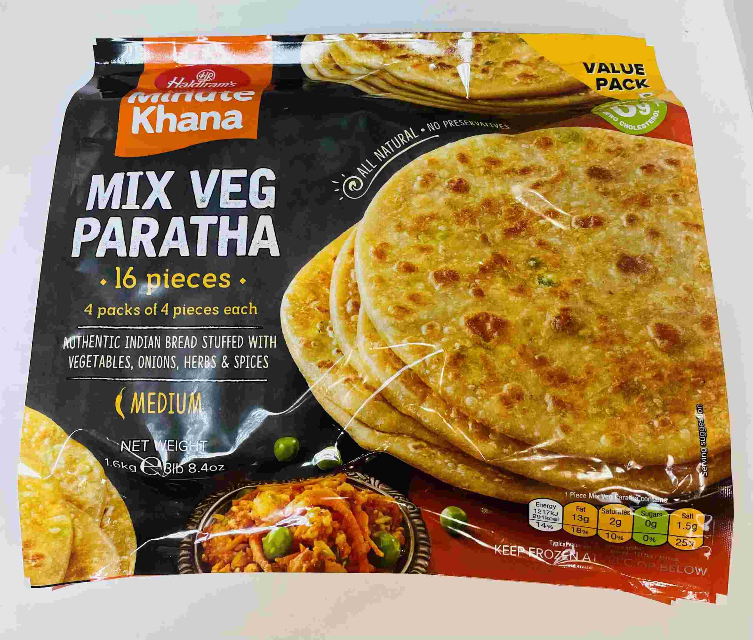 Haldiram's Mix Veg Paratha 16 Pieces