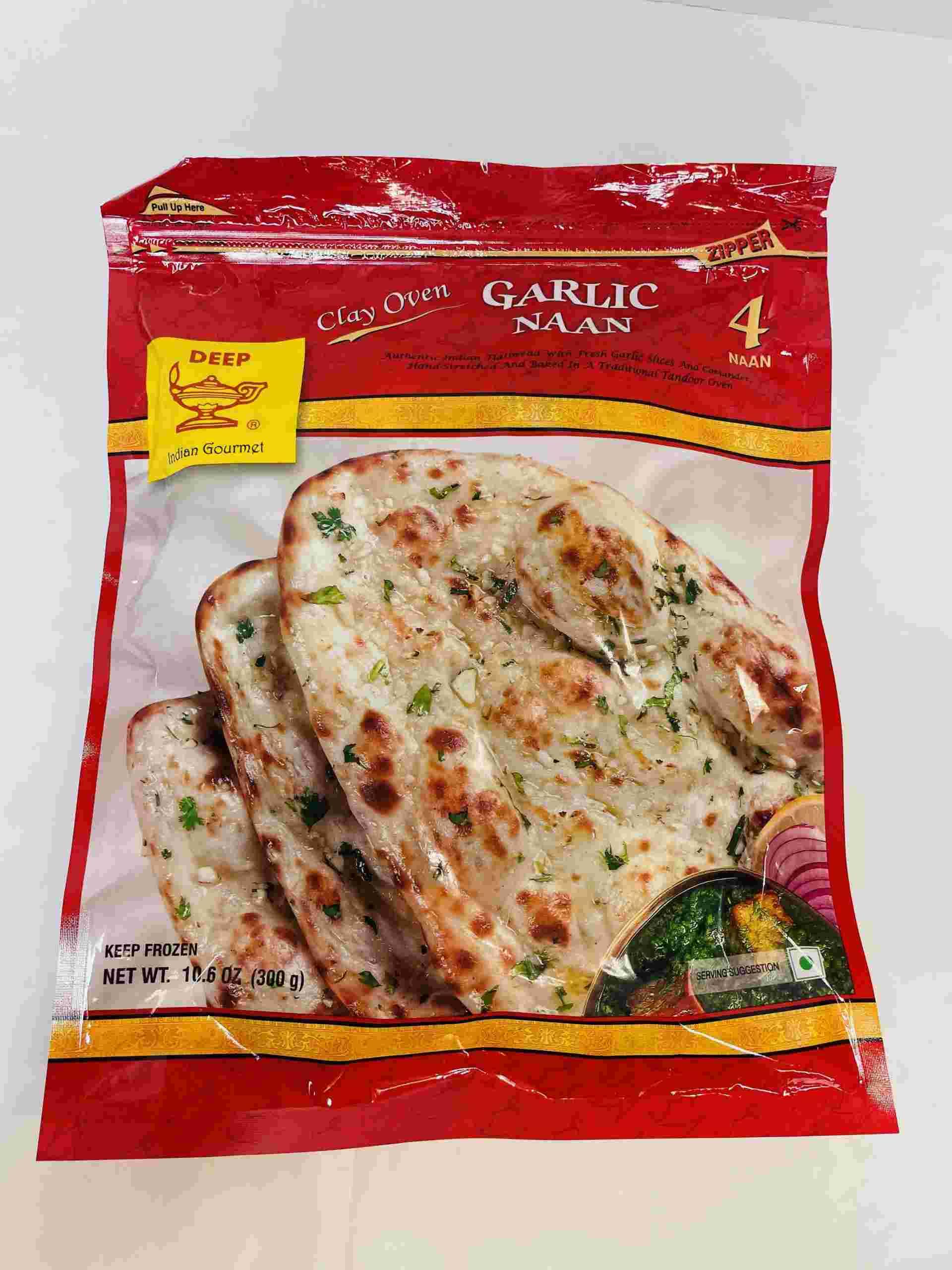 Deep  Garlic Naan 4 Pices