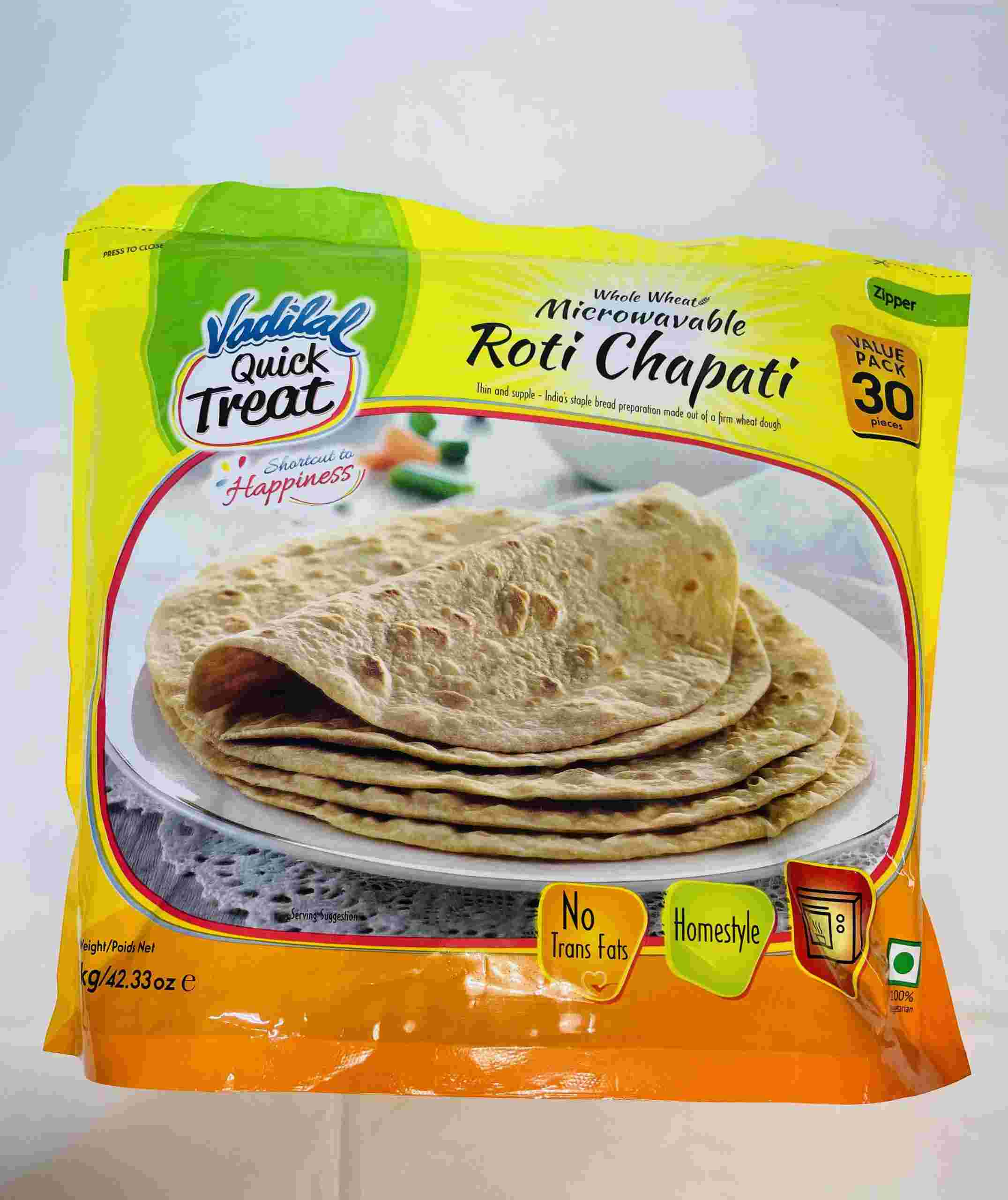 Vadilal Whole Wheat Microwavable Roti 30 Pices