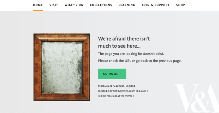 V&A 404 page features a blurry mirror
