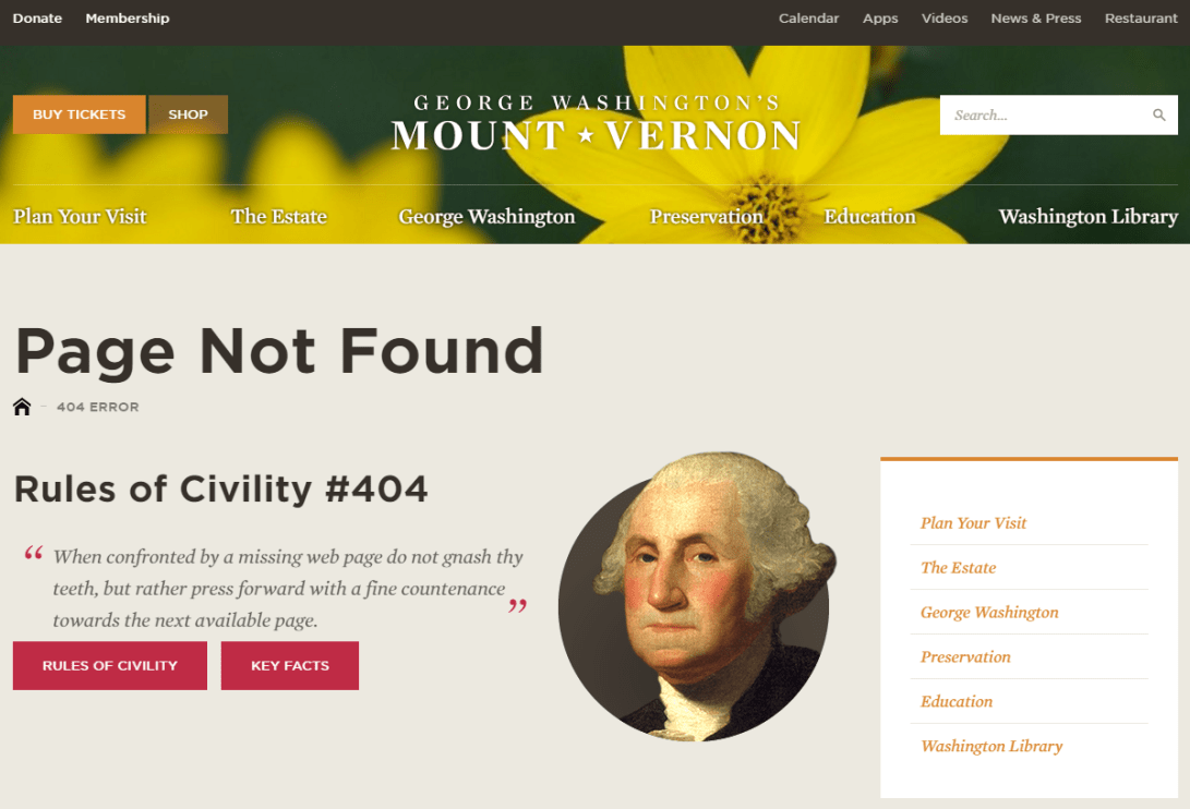 Rules of Civility #404 When confronted by a missing web page do not gnash thy teeth, but rather press forward with a fine countenance towards the next available page.