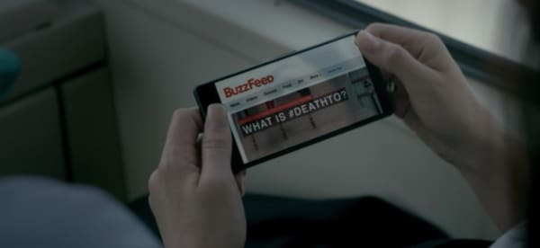 "Mobile phone displays Buzzfeed article ""What is #DeathTo?"""