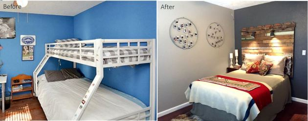 Before and After, DIY, cosmetic reno, houston tx, guest room reno, DIY, Behr paint, pallet headboard
