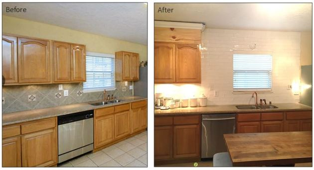 DIY Kitchen Backsplash Before and After