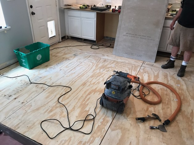 plywood floor, kitchen renovation, kitchen tile diy, david morris, houston house flipper