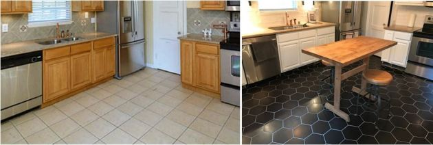 hexagon tile floor, kitchen floor, large hexagon tile