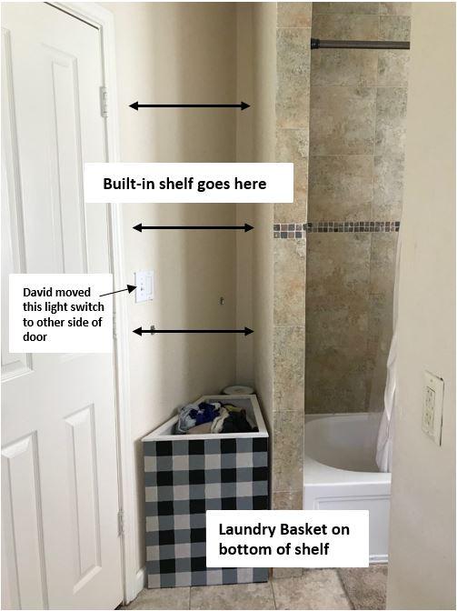guest bathoom shelf, diy shelf, woodworking