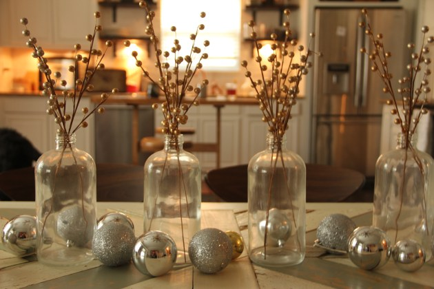 glass bottle decor ideas, christmas ornament decor