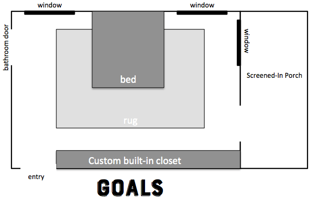 Bedroom layout, screened in porch