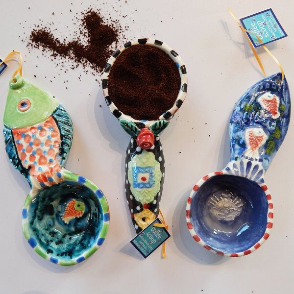 Three coffee scoop designs! fish, crab and the rose/bee