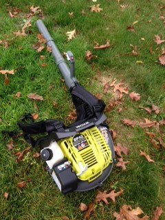 Ryobi Backpack Blower Sitting In Leaves, blower, outdoors, technology, appliance, outdoor work, yard, yard work, leaves, debris, dana vento,