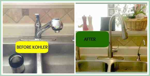 kohler, bold look of kohler, wide powerful blade, , simplice, simply simplice, DIY, sink faucet, spray head, one hole, masterclean spray surface, dirt, debris, dishes, cleaning dishes, cleaning pots, kitchen hardware, kitchen sinks, kitchen faucets, single hole or 3 hole installation, dana vento, pittsburgh frugal mom, before and after, diy