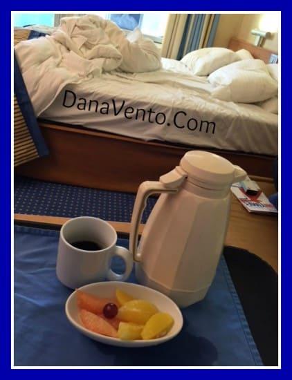 carnival sunshine, room service, food, dining, rise and shine, food to room, menu, dana vento