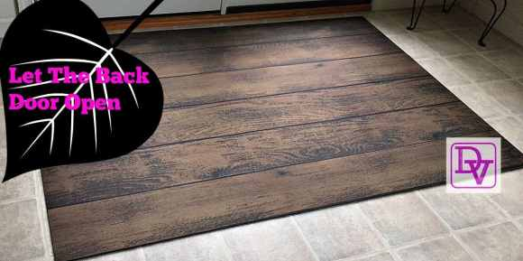 FoFlor Mat, Back door, rubber backed, easy to clean, tracking, wipe clean, flooring, easy to use, roll out, put down, looks like wood, dirt, grass, mud, shoes, tracking in the house, wash, wipe, Everything Doormats, home decor, trending, versatile, ad, dana vento, 44 x 66