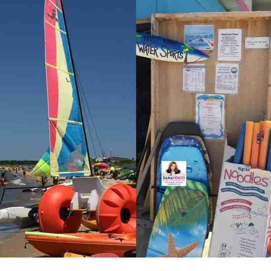 sailboat rentals, aquacycles, kayaks, paddleboards, umbrellas, chairs, cabanas and boats