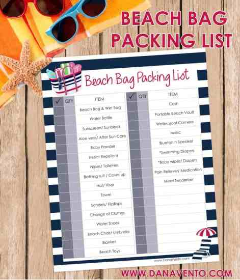 beach bag, beach bag packing list, packing, beaches, sun, sand, sunglasses, hats, sunlotion, print me, printable, water, seaside, beachside, waves, surfing, shorts, towels, sunglasses, sunscreen, travel, destination, vacation, packing list, must have packing list, dana travels,