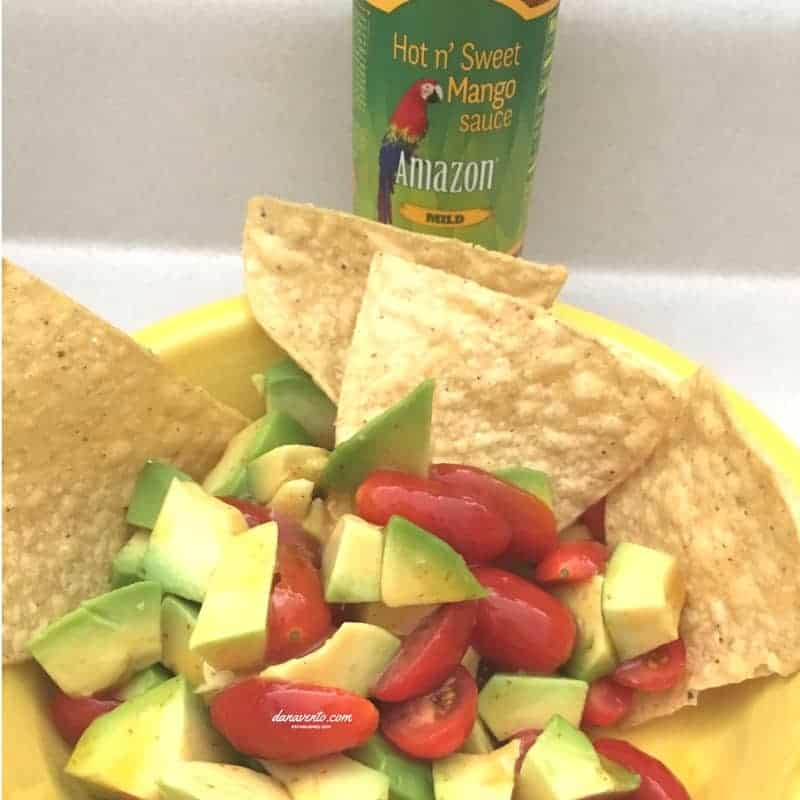 Avocado and Tomato Salad with Hot and Sweet Mango Sauce, Cooking, food, homemade, artisan, food prepared, prepared at home, how to, food diy, recipe, food recipe, food instructions, how to cook, food prep, greens, meatless, meat, food post, recipe post, diy post, kitchen, hands on, yummy, delicious, green and mean, fabulous food, easy to prepare, at home preparation, food prep in your home, you are the chef, go you, cooking recipes, edible, good eats, yummy, instant food, instant good, meals at home, dinner, lunch, side dishes, picnics, parties,