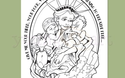 "Lady Liberty Coloring Page: ""These Arms are Wide Enough"""
