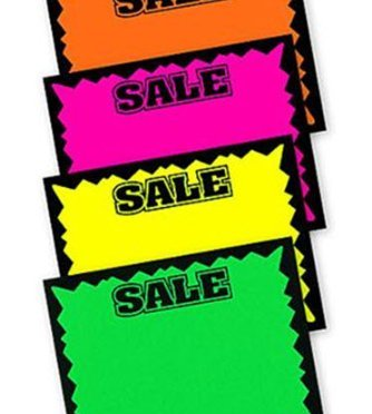 Set of 100 Fluorescent SALE Signs for Vendor Booths or Retail [5X7in]