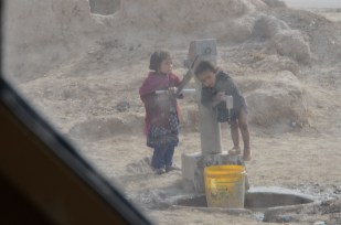 Kids at the well in Qalat