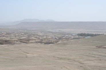 A hazy view of the dramatic landscape from the hilltop near the Castle