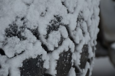 snow on the tire