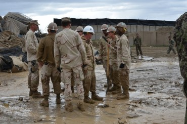 The Seabees discussing their next step